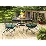 Better Homes And Gardens Clayton Court 5 Piece Patio Dining Set, Green,  Seats 4