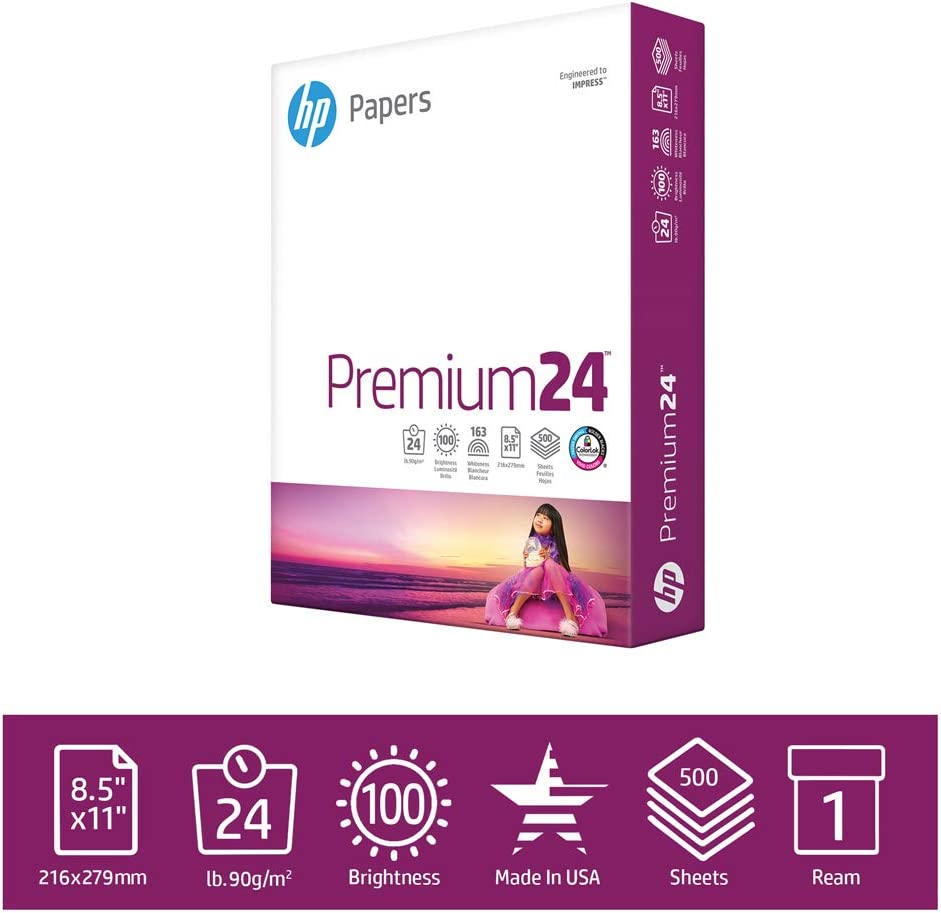 HP PaperPrinter Paper 8.5x11 Premium 24 lb 1 Ream 500 Sheets 100 Bright Made in USA FSC Certified Copy PaperCompatible 115300R, White (112400R)
