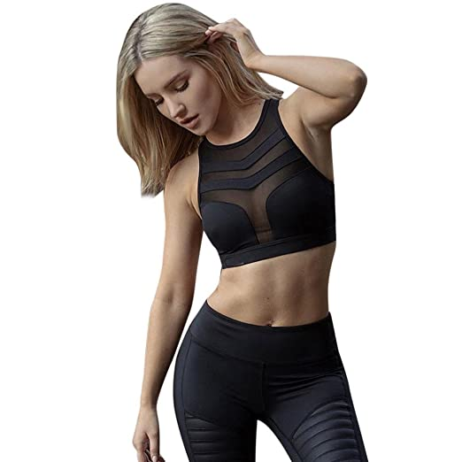 4abcefab11a7f Image Unavailable. Image not available for. Color  Sexy Hollow Out Impact  Bra Mesh Back Training Yoga Shirt Gym Fitness Running Women Crop Top