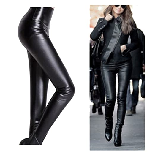 409e86b8efb67 Image Unavailable. Image not available for. Color: SFY Sexy Black Wet Look  Faux Leather Leggings ...