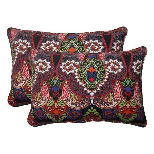 Pillow Perfect Indoor/Outdoor Marapi Corded Oversized Rectangular Throw Pillow, Black, Set of 2 (Rainbow Set Seating)