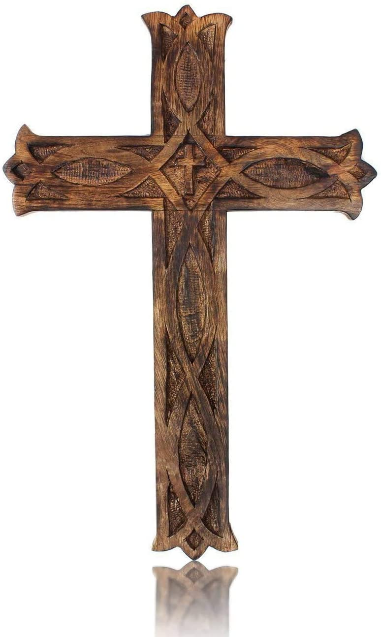 Iblay Wooden Religious Catholic Crucifix Cross Wall Hanging 18 x 12 Inches French Plaque Floral Carvings Living Room Home Decor Accent Church Chapel Altar Wall Art Decor Display Antiqued Rustic Finish