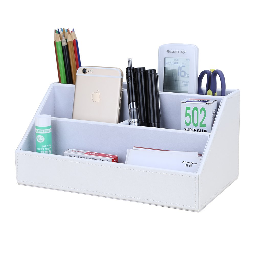 KINGFOM Leatherette Multi-Function Desk Organizer Storage Box, 5 Compartments Office Supplies Caddy, Pen/Pencil, Cell Phone, Business Name Cards, Note Paper, Remote Control Holder Organizer (White)