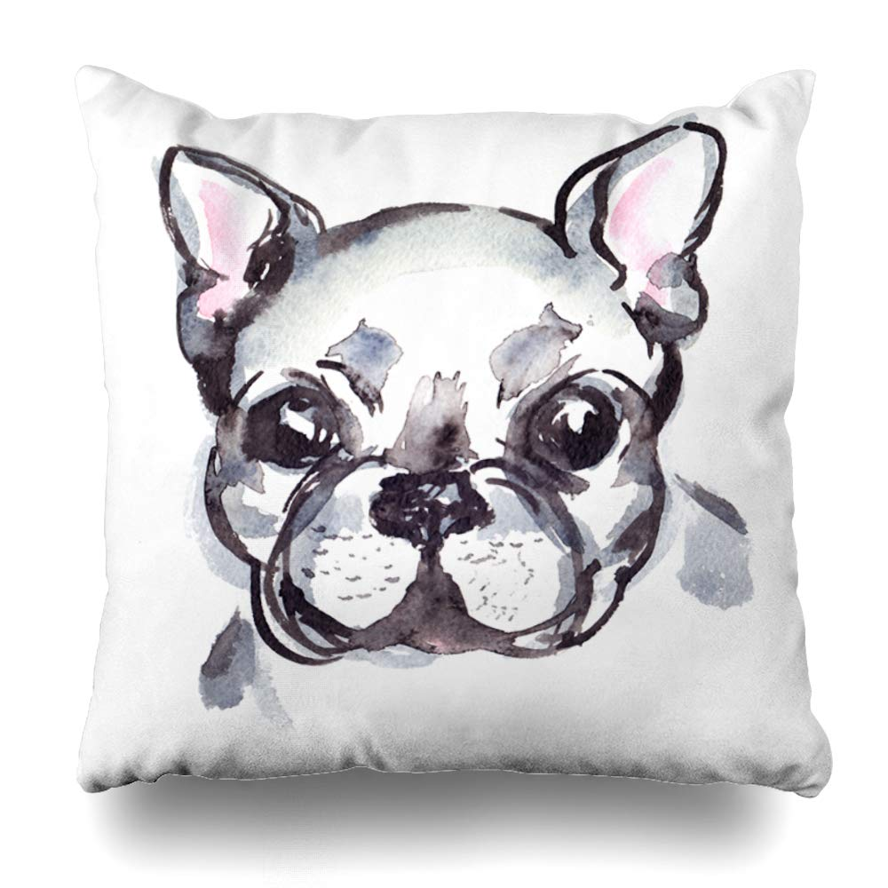 Boston Terrier Watercolour Cushion Cover Linen Gift Home Decor French Bull Dog