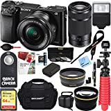 Sony Alpha a6000 24.3MP Silver Interchangeable Lens Camera w/16-50mm Zoom 32GB Kit Includes memory card, battery, gadget bag, HDMI cable, mini tripod and more (Essential 64GB Kit, Black)