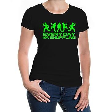 Girlie T-Shirt Everyday Im Shuffling-XXL-Black-Neongreen
