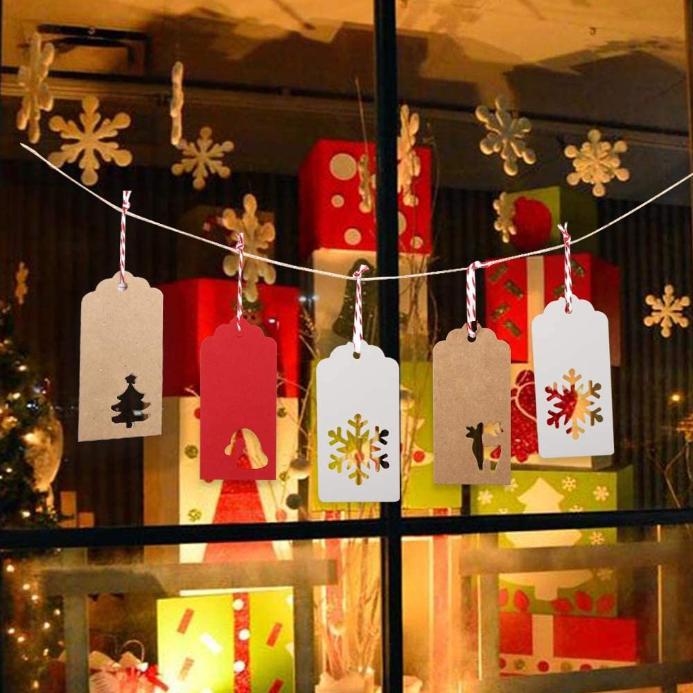 200 PCS 4 Styles Kraft Tags Hang Labels with Snowflake Reindeer Christmas Tree Patterns and 100 Feet Natural Twine String for Gift Favor and DIY Arts Christmas Gift Tags