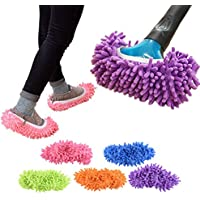 5 Pairs/10 pcs Washable Dust Mop Slippers Shoes Cover Soft Washable Reusable Microfiber Cleaning Mop Slippers Floor Dust…