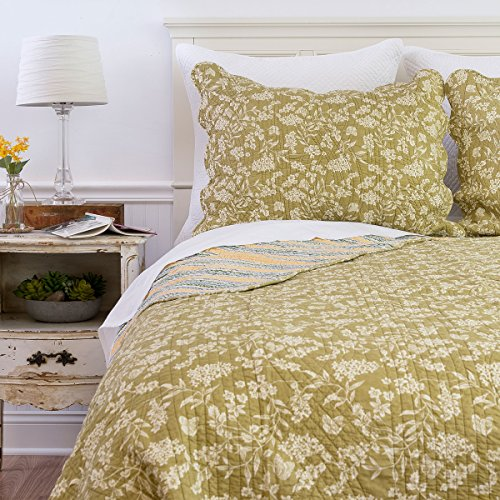 (C&F Home Green Toile 3 Piece Quilt Set All-Season Reversible Bedspread Oversized Bedding Coverlet, Full/Queen Size,)