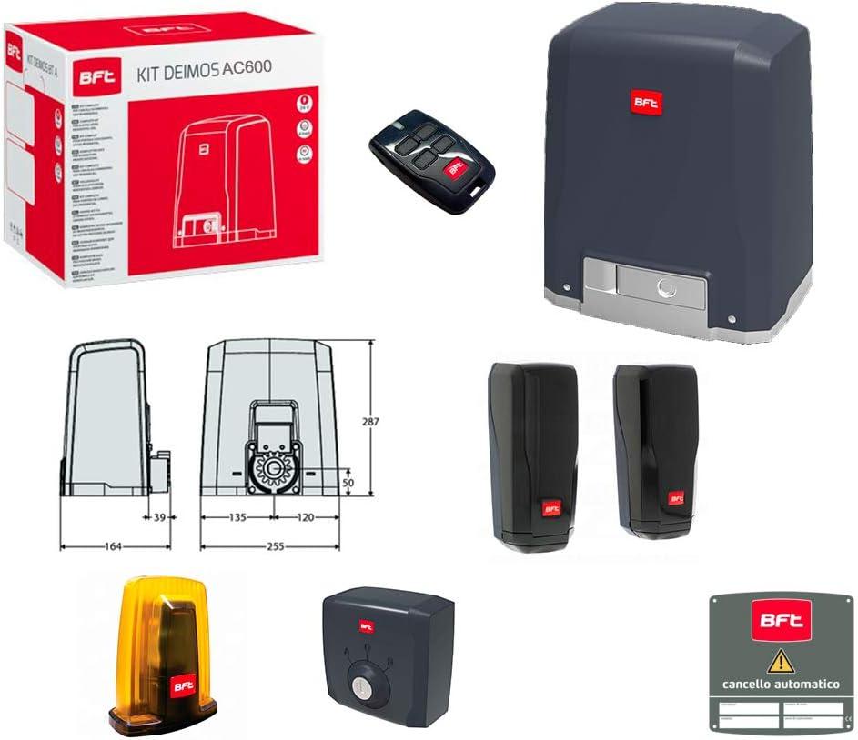 Kit Puerta Corredera con Motor BFT Deimos AC A600 230 V 600 kg r9225 8000002: Amazon.es: Bricolaje y herramientas
