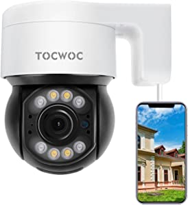 5MP Security Camera Outdoor, 2560×1920 TOCWOC Home Surveillance Camera with Pan/Tilt Waterproof Wi-Fi Camera Color Night Vision 2-Way Audio Human Detection Auto Tracking (Use Wired Power)