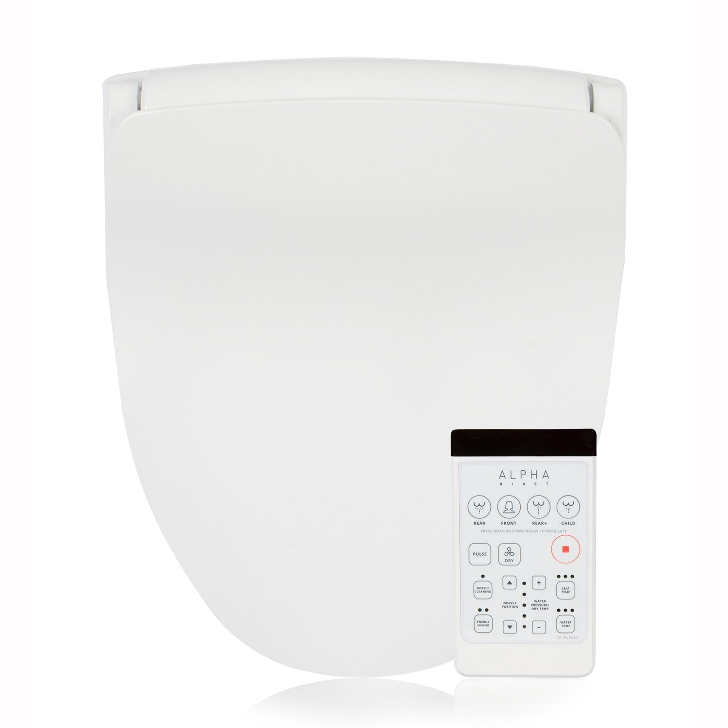 Alpha Bidet iX Hybrid Bidet Toilet Seat in Elongated White | Endless Warm Water | Stainless Steel Nozzle | 4 Wash Functions | LED Nightlight | Warm Air Dryer | Wireless Remote | Oscillation and Pulse