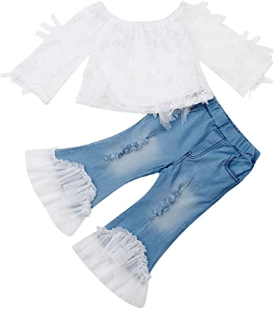 Baby Girl OtoñO Ropa De Encaje Manga Larga Crop Top Camisa Campana Inferior Flare Leggings Pantalones Pantalones Vaqueros Rasgados Outfit: Amazon.es: Ropa y accesorios