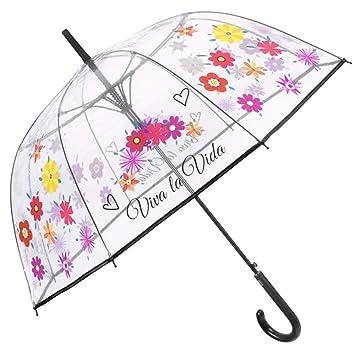 Paraguas Cupula Transparente Mujer - Paraguas Largo Clásicos con Estampado Flores y Frases - Mango y