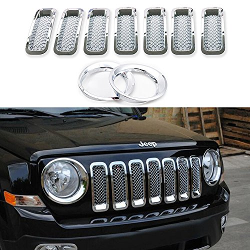 AVOMAR 9Pcs Front Grill Mesh Grille Insert Kit + Light Lamp Cover Trim For 2011-2016 Jeep Patriot (Front Grill Mesh Insert with Headlight Cover Trim 001)
