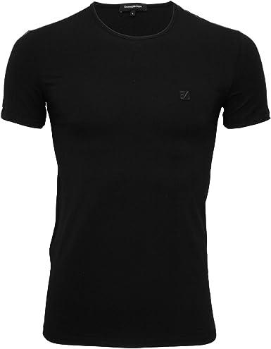 Ermenegildo Zegna Estiramiento Camiseta De Algodón Cuello Redondo Hombres, Negro: Amazon.es: Ropa y accesorios
