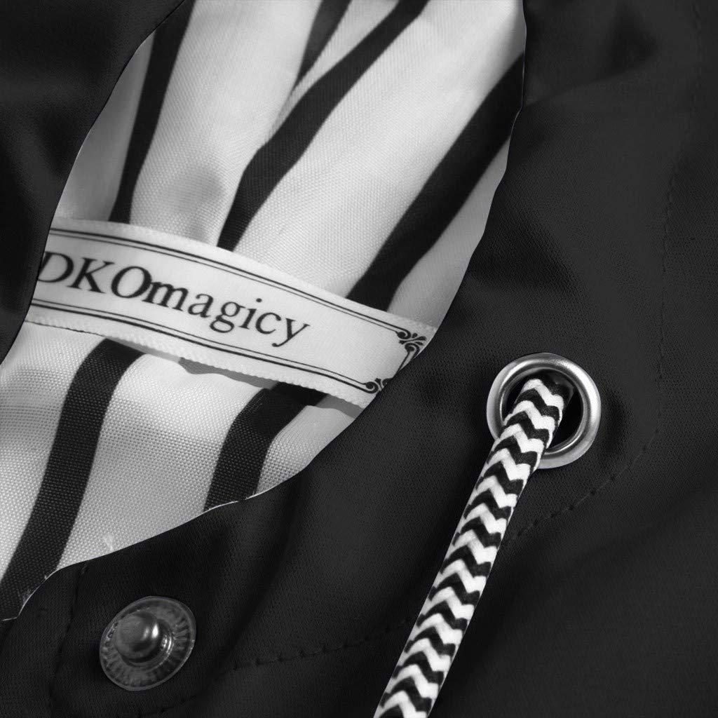 KEERADS Femmes Coupe-Vent Couleur Pure Veste De Pluie en Plein Air Grande Taille Imperméable De Poche Zipper À Capuche Imperméable Noir