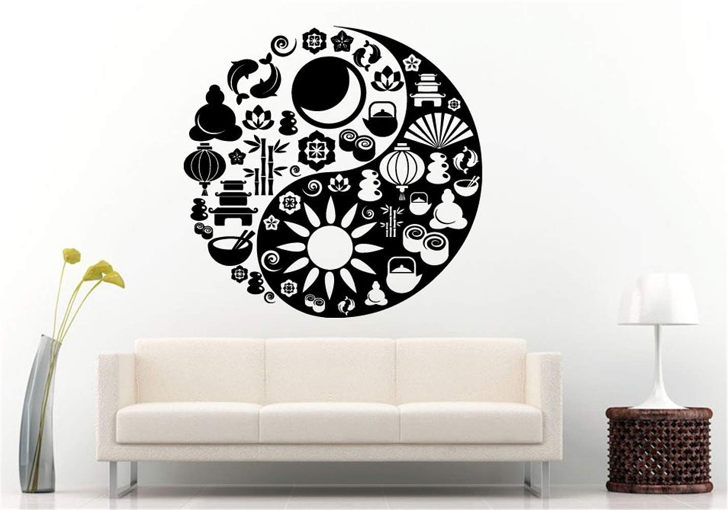 Pegatinas De Pared Yoga Yin Yang Símbolo Mad Of Zen Iconos ...