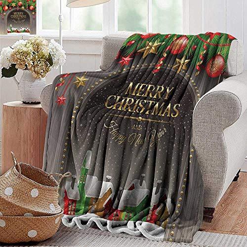 Outdoor blanket,Merry Christmas Decoration,Christmas Gold Classic Rustic Design Season Greetings Golden Christmas Letters Village Ornament,Multi,Super Soft Faux Fur Plush Decorative Blanket 70