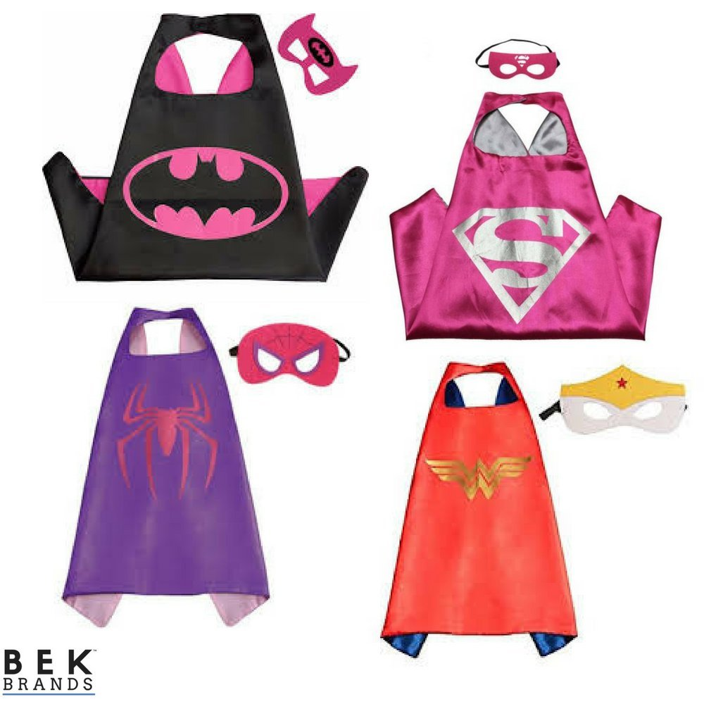 Bek Brands Childrens Superhero Costume Cape and Mask Sets (Batgirl, Spidergirl, Wonder Woman, Supergirl)