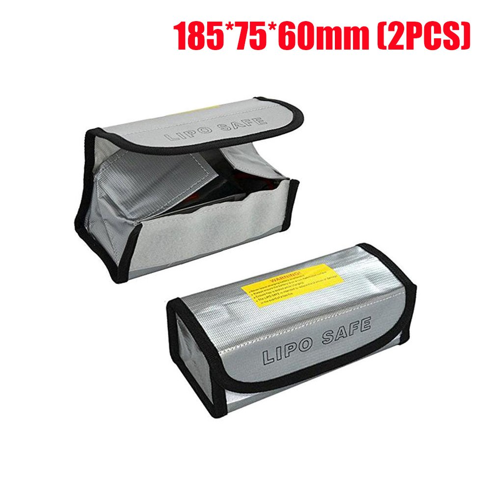 Fireproof Battery Bag Lipo Charging Storage Bag for DJI SPARK, LiPo Battery Pouch Protection Bag for Toy RC Drone Vehicle, 125 x 64 x 50 mm (2PCs) Suncentech