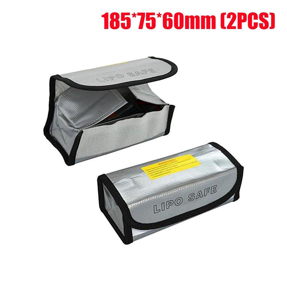 Batterie Sac Ignifuge Sac de Rangement pour DJI Spark, LiPo Batterie Poche Sac de Sécurité pour Jouet RC Radio Commandes Drone Véhicules, Résistante à l'eau et au Feu (125 x 64 x 50 mm, 2PCs)