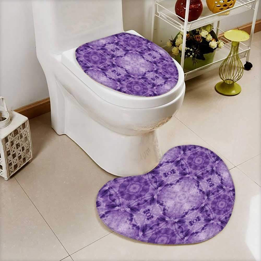 vanfan Non Slip Bath Shower Heart shaped foot pad Thai Style Motif Generated with Square Shaped Kaleidoscope Murky Ted Forms 2 Pieces Microfiber Soft