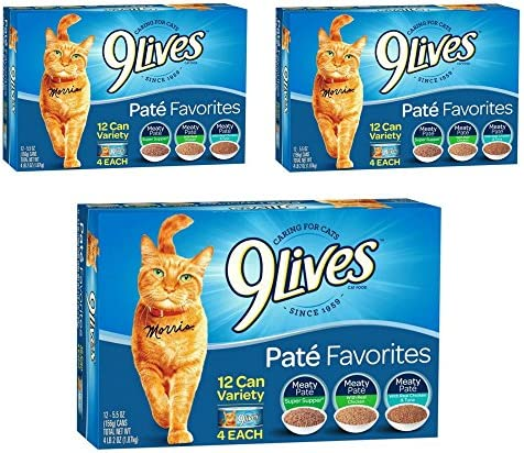 9 Lives Pate Favorites Variety Pack Canned Cat Food, Pack of 12 Cans, 5.5 Ounce 36 pack
