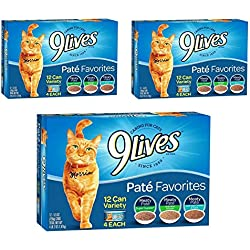 9 Lives Pate Favorites Variety Pack Canned Cat Food, Pack of 12 Cans, 5.5 Ounce (36 pack)