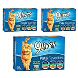9 Lives Pate Favorites Variety Pack Canned Cat Food, Pack of 12 Cans, 5.5 Ounce (36 pack) For Sale
