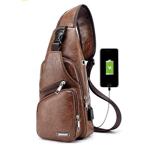 US Men PU Leather Sling Chest Pack Crossbody Sport Shoulder Bag USB Charging
