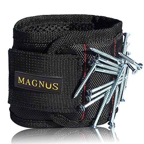 Magnus Magnetic Wristband -10 Strong Neodymium Magnets embedded throughout wristband for holding nails, screws, bits, fasteners, washers, bolts, small tools, and much more. by Magnus