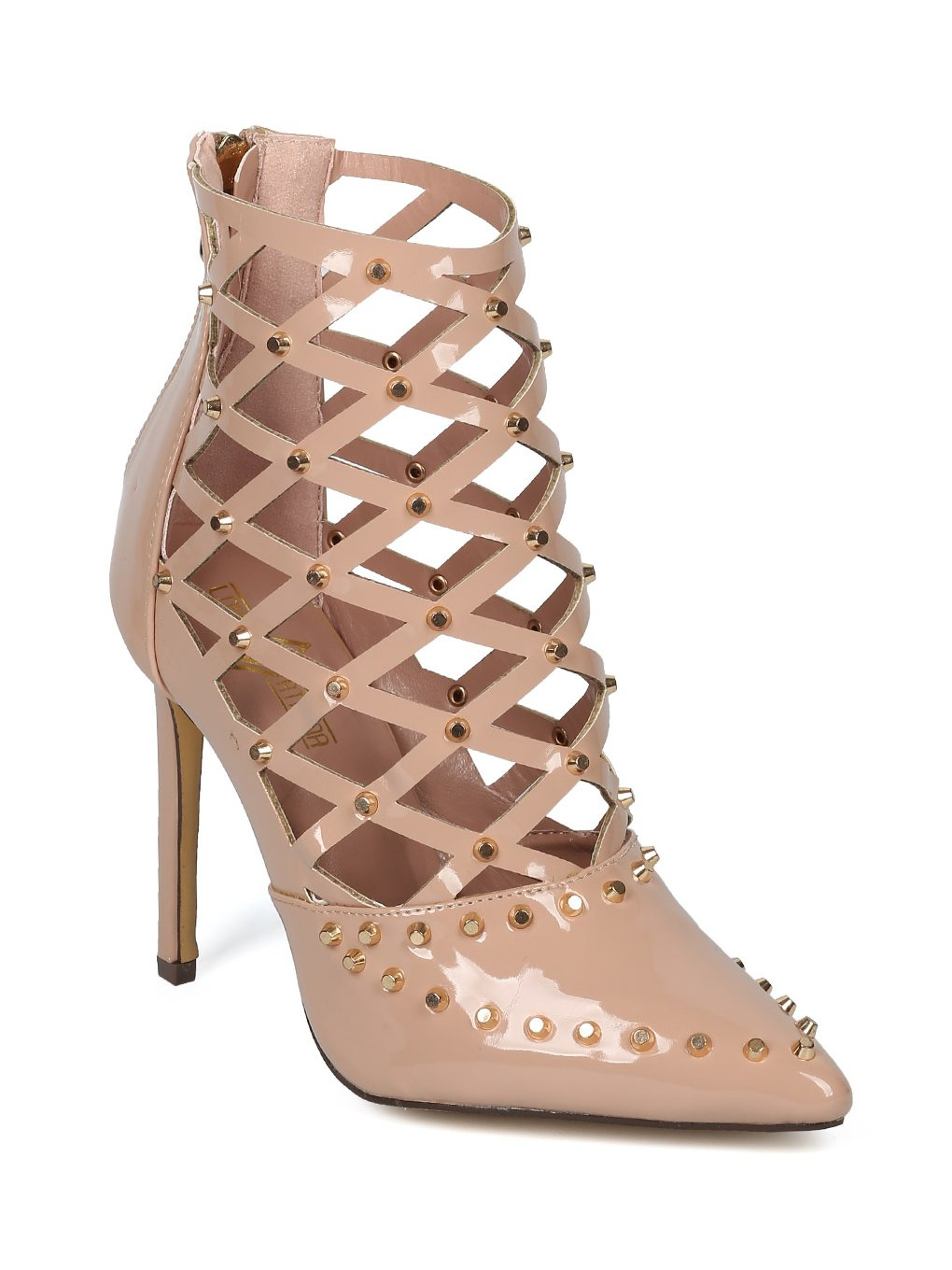 Alrisco Women Studded Pointy Toe Caged Cut Out Stiletto Bootie Pump HF45 - Nude Patent (Size: 6.0)