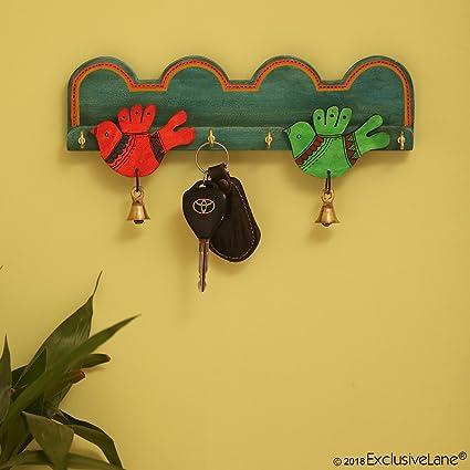ExclusiveLane Teal Blue \'Chirping Birds\' Key Holder Handmade In Wood ...