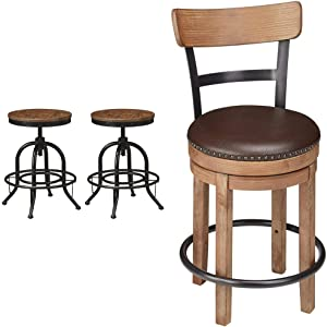 Signature Design by Ashley Pinnadel Counter Height Bar Stool, Light Brown & Design by Ashley Pinnadel Farmhouse Swivel Counter Height Single Stool, Brown