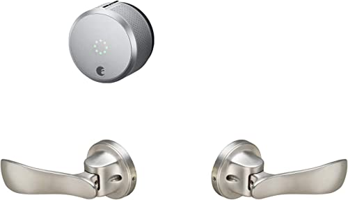 August Smart Lock Pro Connect Silver and Yale Navis Push-to-Open Paddle Satin Nickel Bundle