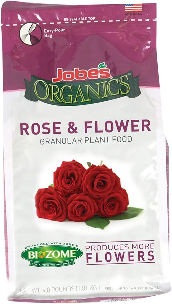 Jobe's 09423Organics Flower & Rose Granular Fertilizer with Biozome, 4 pound bag