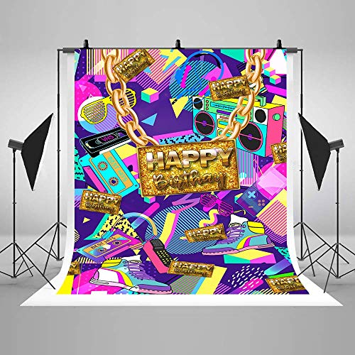 COMOPHOTO Graffiti 80th 90th Themed Birthday Party Background Graffiti Rock Radio Party Banner Decoration Supplies Portrait Photography Backdrops]()