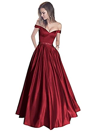 aeb533f333c7 Vickyben Damen langes Ab-Schulter Satin Prinzessin Kleid Abendkleid  Ballkleid Brautjungfer Kleid Party Kleid  Amazon.de  Bekleidung