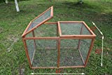 ECOLINEAR Deluxe 40'' Poultry Pet Backyard Run Cage W/Mesh Cover Wooden Hutch Outdoor Hen House