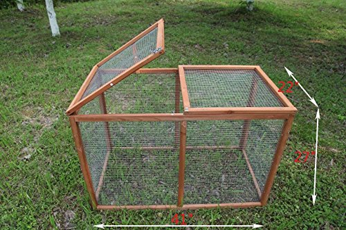ECOLINEAR Deluxe 40'' Poultry Pet Backyard Run Cage W/Mesh Cover Wooden Hutch Outdoor Hen House by ECOLINEAR
