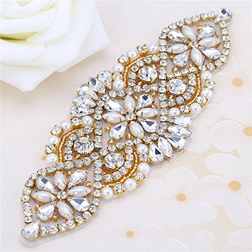 - XINFANGXIU Wedding Rhinestone Applique - Bridal Crystal Applique Pearls Beaded Dacorations Handcrafted Sparkle Elegant Sewn or Hot Fix for Women Gown Sash Evening Prom Party Dress Belt Clothes - Gold