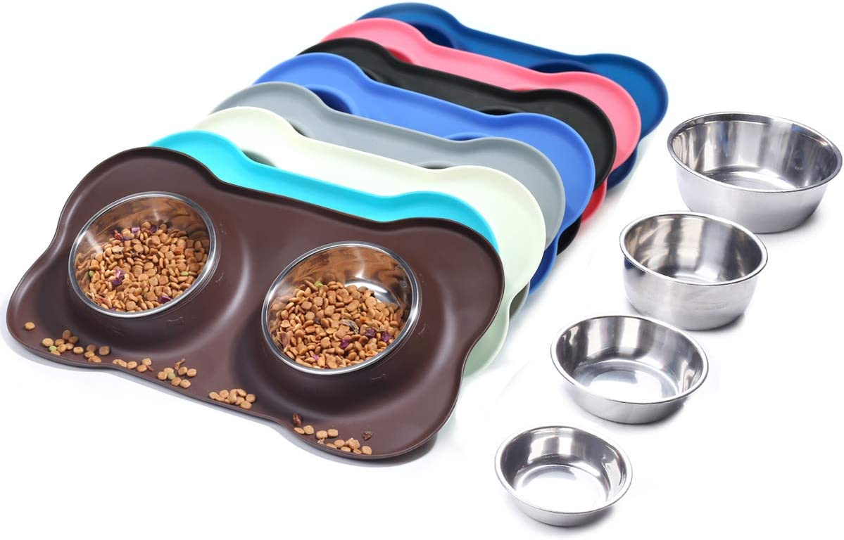 Vivaglory Dog Bowls Stainless Steel Water and Food Bowl Pet Cat Feeder with Non Spill Skid Resistant Silicone Mat, Small, Chocolate