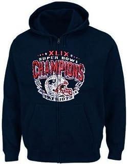 ec6086c042872 England Patriots NFL Mens XLIX Super Bowl Champs Full Zip Hoodie Adult Sizes