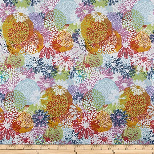 Doodle Garden - In The Beginning Fabrics Doodle Blossoms Flower Garden Fabric, Multicolor, Fabric By The Yard