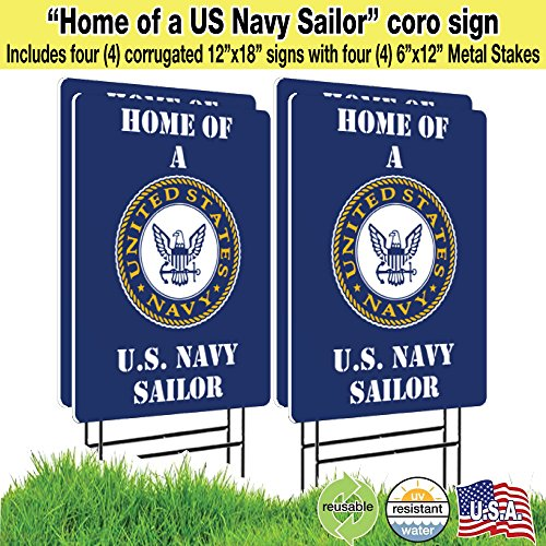 Visibility Signage 12x18 Home Of A US Navy Sailor with a 6x12 H-Stake Double Sided Print (4)]()