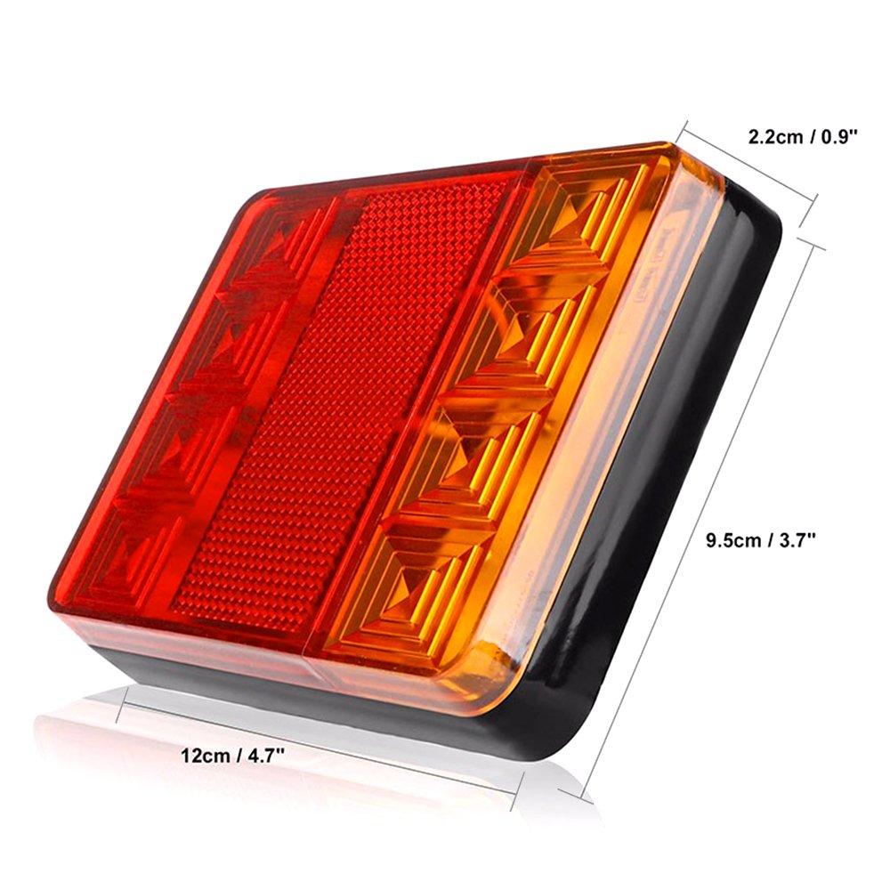 Tropicaleu 2PCS 12v 8 LED Remolque Cola Luces Impermeable Piloto Intermitente y Parking Freno L/ámpara para Coche Cami/ón Barco Espec
