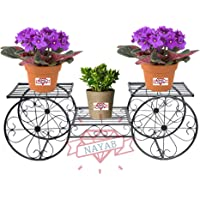 NAYAB Parisian Style Iron Metal Garden Cart Planter Stand Flower Pot Plant Holder Corner Display Rack Shelf Without Pots for Balcony, Home Indoor and Outdoor Decoration