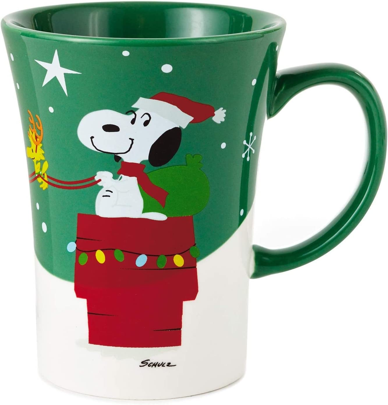 Snoopy Christmas Peanuts Coffee Mug Ceramic Cup Green Woodstock New HO WOOF