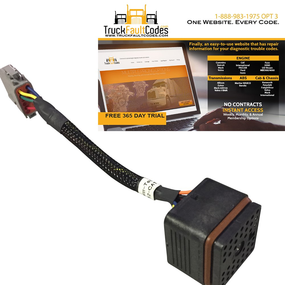 Bypass Breakout Programming Cable for CAT 40-Pin ECMs with 12 month subscription to TruckFaultCodes by Diesel Laptops